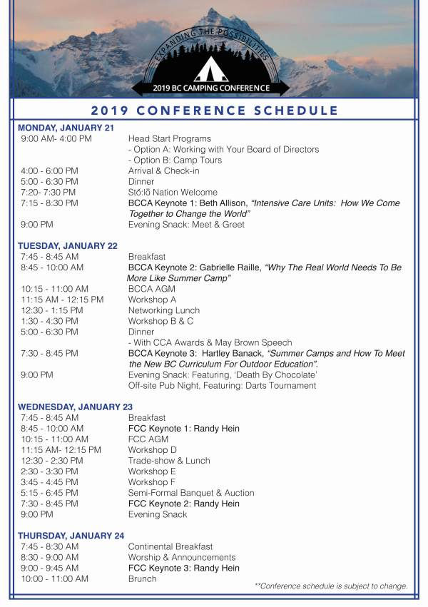 BCCA- 2019 Conference Schedule